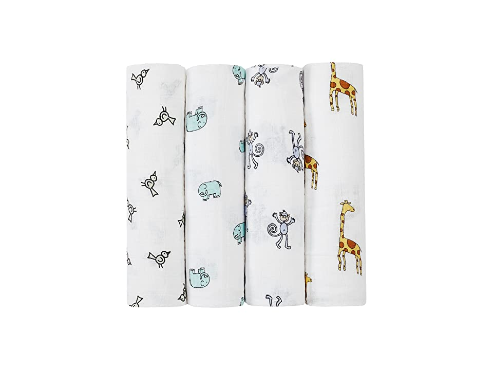 aden + anais Classic Swaddling 4-Pack (Jungle Jam) Sheets Bedding, Silver