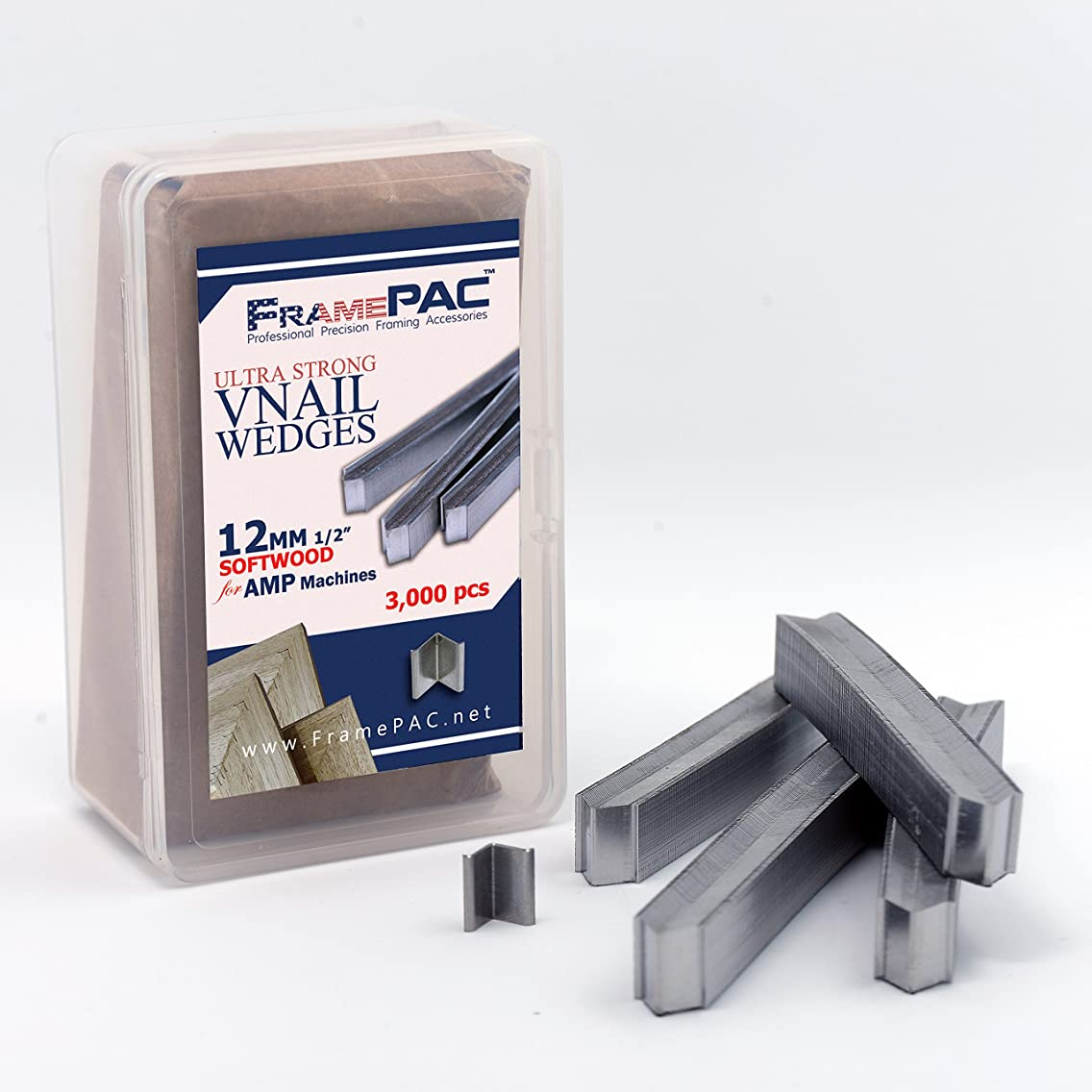 V Nails for Picture Framing - Ultra Strong - 12mm (1/2 Inch) Vnail Wedges for Joining Picture Frame Corners - Softwood Frames - AMP [3000 V Nail Pack, Stacked]