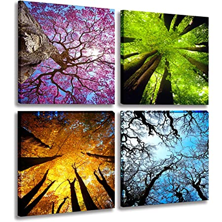 Amazon Com Mesese Art 4 Panels Canvas Wall Art Spring Summer Autumn Winter Four Seasons Landscape Color Tree Painting Picture Prints Modern Giclee Artwork Stretched And Framed For Living Room Home Decoration Posters