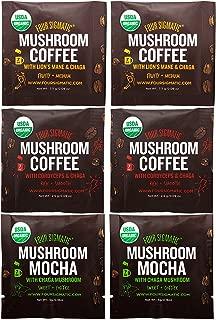 Four Sigmatic Mushroom Arabica Coffee Sampler – Mushroom Mocha (Chaga and Cacao), Mushroom Coffee with Cordyceps and Chaga, Mushroom Coffee with Lion Mane and Chaga – USDA Organic, Vegan , Pack of 6