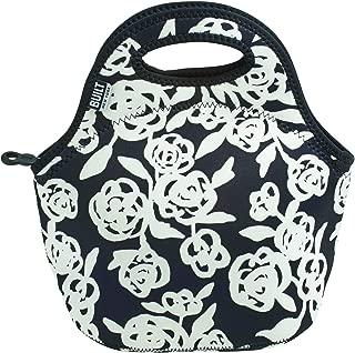 BUILT 5158468 Gourmet Getaway Soft Neoprene Lunch Tote Bag - Lightweight, Insulated and Reusable, Garden Rose Black & White