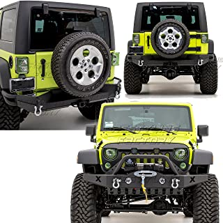 Restyling Factory -Rock Crawler Front Bumper with Skid Plate, OE Fog Lights Hole and Winch Plate+Full width Rear Bumper with 2