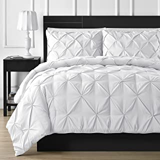 Comfy Bedding Double Needle Durable Stitching 3-Piece Pinch Pleat Comforter Set All Season Pintuck Style King White