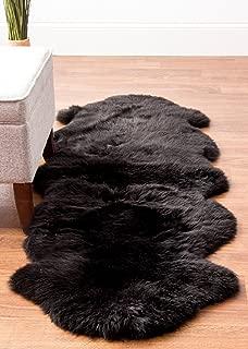 Genuine Black Sheepskin Rug Two Pelt Fur Rug, Double