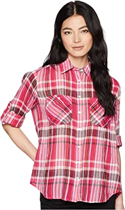 Petite Plaid Cotton Long Sleeve Shirt