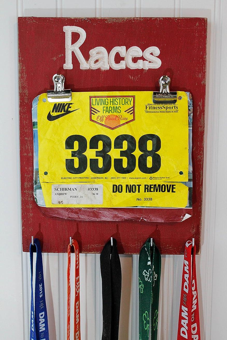 Race Medal Holder - Carved Sign - Running Medal Holder- Bib Holder