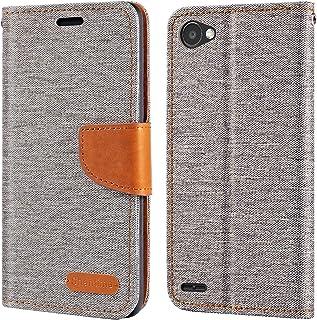 LG Q6 fodral, Oxford läder plånboksfodral med mjuk TPU baksida fodral magnet flip fodral för LG Q6 Plus