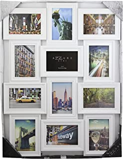 Azzure Home 12 Openings Decorative Wall Hanging Collage Picture Frame - Made to Display Six 5x7/Six 4x6 Photos, 12 sockets, Wall mounting Selfie Gallery Collage -White