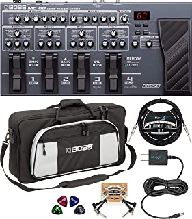 BOSS ME-80 Multi-Effects Pedal Bundle with Bag-L2 Large Instrument Bag, Blucoil Slim 9V 670ma Power Supply AC Adapter, 10-FT Mono Instrument Cable, 2-Pack of Pedal Patch Cables, and 4x Guitar Picks