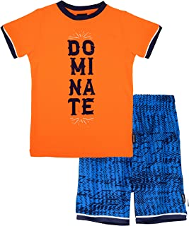 Spalding 男童运动篮球图案圆领 T 恤短袖西装上衣和短裤健身套装