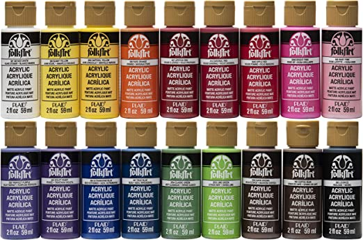 Amazon Com Folkart Promofai Matte Finish Acrylic Craft Paint Set Designed For Beginners And Artists Non Toxic Formula That Works On All Surfaces Includes 18 2 Oz Bottles 2 Ounce 1 Colors