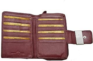 Flevado en cuir véritable portefeuille en noir et rouge avec protection RFID