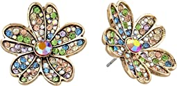 Multicolored Stone Flower Stud Earrings