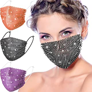 3 Pieces Chic Rhinestone Face Covering Chain Crystal Metal for Women Girls