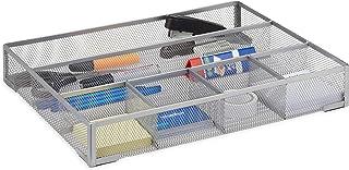 Relaxdays Organizador de Escritorio con 6 Compartimentos, Metal, Plateado, 30x38x6 cm