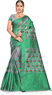 S Kiran's Women's Cotton Blend Saree With Unstitched Blouse, Unstitched Mekhela & Chador (NuniGrey3201Green_Grey)