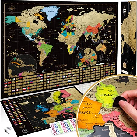 Cartina Muta Dell Europa Con I Confini.Due Mappe Da Grattare Mappa Del Mondo Da Grattare Con Bandiere Xxl Offerta Gratuita Una Mappa Dell Europa Da Grattare Mappa Viaggi Qualita Premium Poster Da Parete Idea Regalo Per Viaggiatori