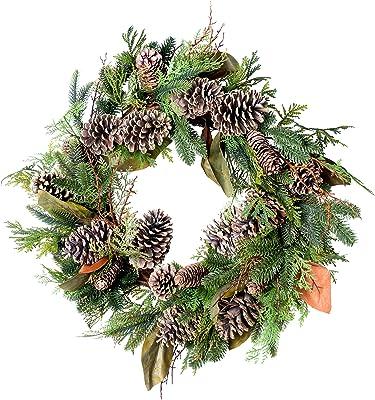 "Red Co. 28"" Mixed Pine Cone All-Season Wreath, Door Backdrop Ornaments, Home Décor Collection"