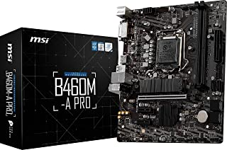 MSI B460M-A PRO ProSeries Motherboard (mATX, 10th Gen Intel Core, LGA 1200 Socket, DDR4, M.2 Slot, USB 3.2 Gen 1, 2.5G LAN...