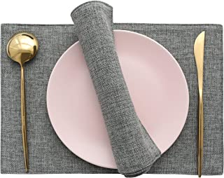 Home Brilliant Set of 4 Placemats Heat Resistant Dining Table Place Mats Kitchen Table Mats, Dark Grey