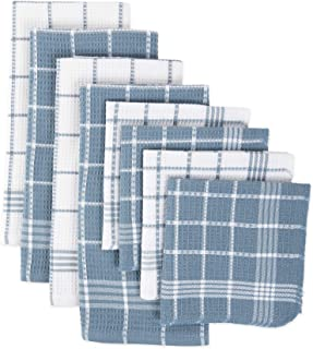 J&M Home Fashions Waffle Weave Terry Dishtowel & Dishcloth Set, Assorted, Blue 8 Pack