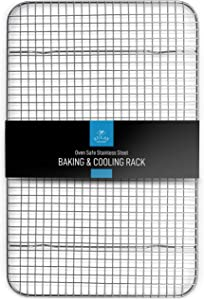 """Zulay 10""""x15"""" Wire Cooling Rack - Stainless Steel Wire Baking Rack For Oven Cooking Fits Jelly Roll Pan - Heavy Duty Wire Grid Oven Rack & Cooking Rack For Baking, Roasting, BBQ & More"""