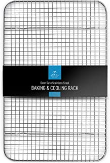 """Zulay 10""""x15"""" Wire Cooling Rack - Stainless Steel Wire Baking Rack For Oven Cooking Fits Jelly Roll Pan - Heavy Duty Wire ..."""