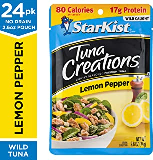 StarKist Tuna Creations, Lemon Pepper, 2.6 oz. Pouch, Pack of 24 – Ready to Eat Tuna Pouches – Works for Keto, Mediterranean and Weight Watchers Diet Plans (Packaging May Vary)