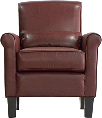 Handy Living Hailey Transitional Rolled Arm Chair, Red Renu Leather Fabric