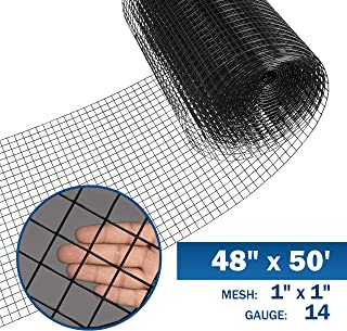 Fencer Wire 14 Gauge Black Vinyl Coated Welded Wire Mesh Size 1 inch by 1 inch (4 ft. x 50 ft.)