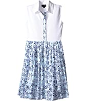 Oscar de la Renta Childrenswear - Tropical Palm Cotton and Pique Dress (Toddler/Little Kids/Big Kids)