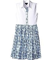 Oscar de la Renta Childrenswear Tropical Palm Cotton and Pique Dress (Toddler/Little Kids/Big Kids)