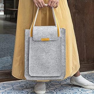 Lucky Sign Umhängetasche Filz Handtasche Schultertasche für Arbeit Schule, 30x7x41cm - Hellgrau