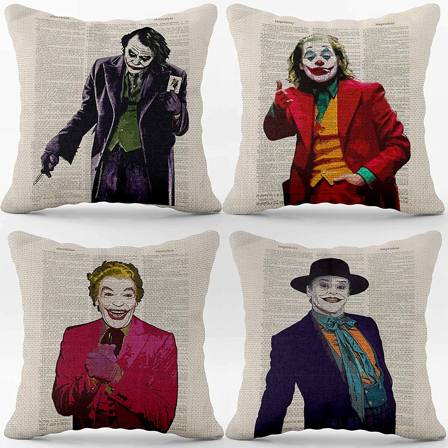 Joker Movie Linen Throw Pillow Case, 18 x 18 Inch Set of 4, Gift Joker Fan, GiftJoker Lover, Gift for Husband Man Cave Decor, Gift for Boyfriend, Brother, Cushion Cover for Sofa Couch Bed