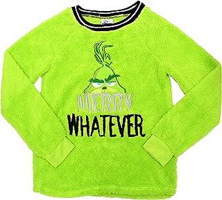 The Grinch Christmas Xmas Women and Womens Plus Merry Whatever Sherpa Top Pajamas Pajama Sleepwear Shirt Sweater (L), Grinch Green