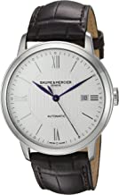 Baume & Mercier Men's Stainless Steel Swiss Automatic Watch with Leather Strap, Brown, 21 (Model: MOA10214)
