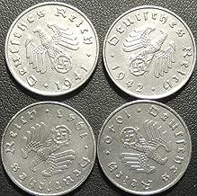Germany, Four World War II German 10 Reichspfennig Coin Collection - Dated 1940, 1941, 1942 &1943