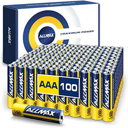 Allmax AAA Maximum Power Alkaline Batteries (100 Count Bulk Pack) – Ultra Long-Lasting LR03 Battery, 10-Year Shelf Life, Leak-Proof, Device Compatible – Powered by EnergyCircle Technology(1.5V)