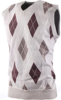 Enimay Mens Argyle/Plain V-Neck Golf Sweater Vest (Many Colors Available)