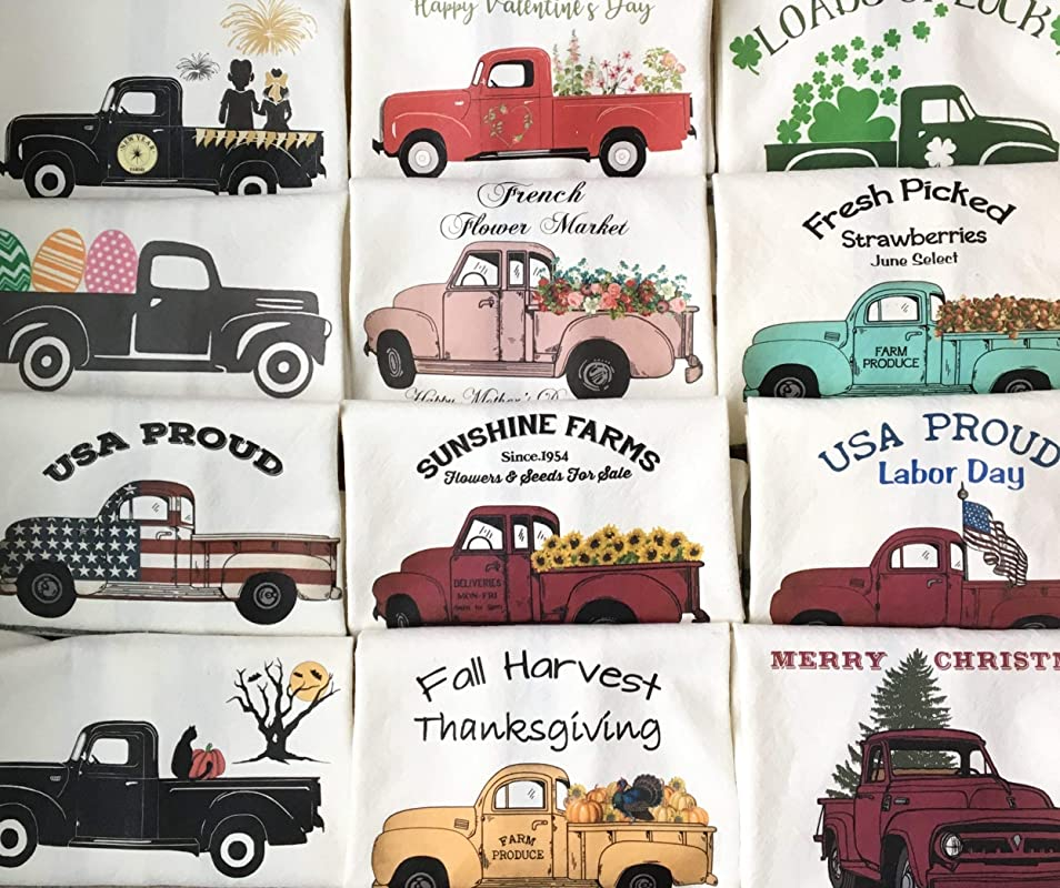 Farmhouse Style Trucks Towels Set Of 12 Kitchen Bath Hand Towel