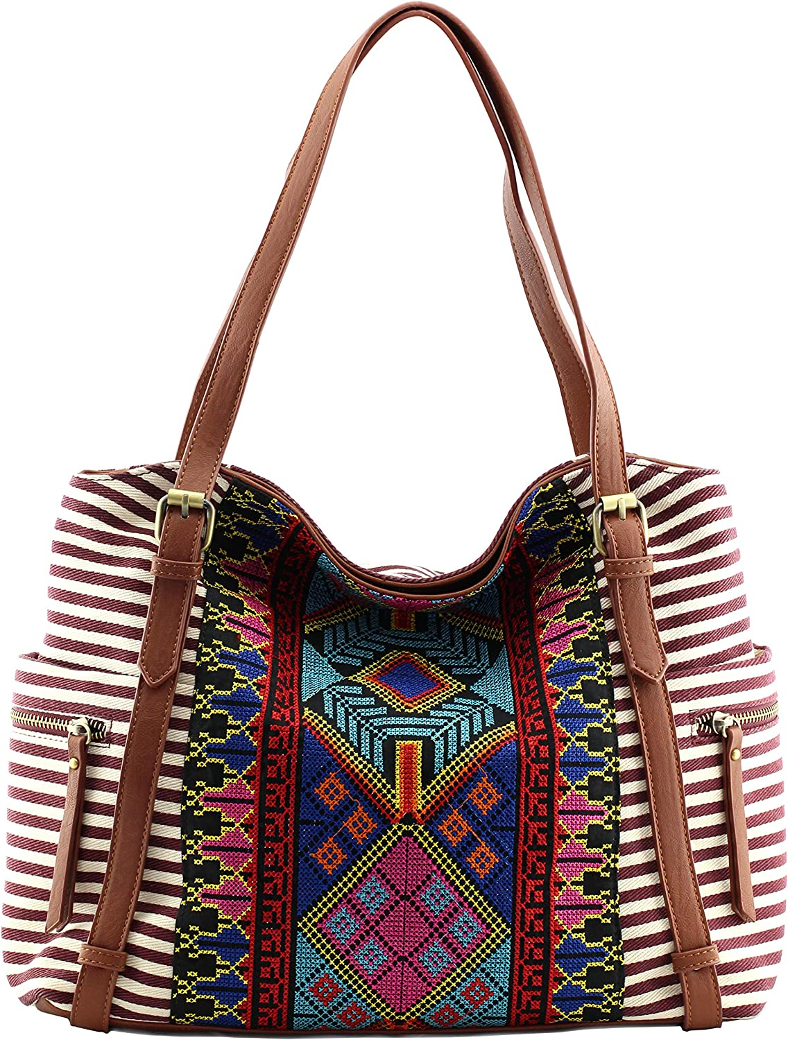 Boho striped canvas satchel bags with long shoulder strap