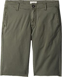 Raw Hem Sateen Chino Shorts in Green Ash (Big Kids)