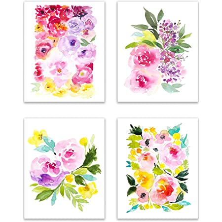 Amazon Com Floral Watercolor Pastel Flower Art Prints Set Of Four 8x10 Photos Of Daffodils Periwinkle Peonies Dahlias Hyacinth Feverfew And Lily Of The Valley Posters Prints