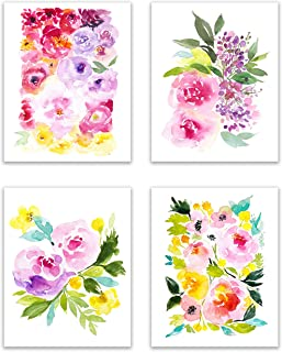 Floral Watercolor Pastel Flower Art Prints — The Beautiful, Bold Peony Collection - Set of Four 8x10 Photos of Colorful Peonies - Bouquets of Pink, White, Red, Purple, Ivory and Blush Colored Flowers