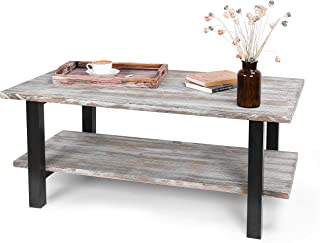 MyGift 42-Inch Torched Wood Industrial Coffee Table with Storage Shelf