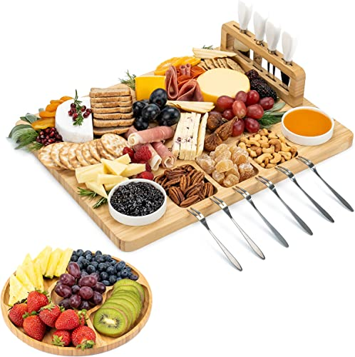 2021 SMIRLY outlet online sale Cheese Board and Knife Set - Charcuterie Board Set, 2021 Cheese Platter Board, Bamboo Cheese Board with Cutlery Set, Cheese Tray, Wooden Cheese Board Set, Cheese Cutting Board Set, Cheese Plate Set online