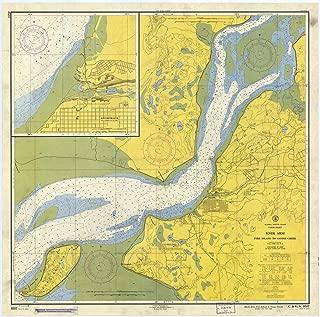 Map - Knik Arm, Fire Island To Goose Creek, 1958 Nautical NOAA Chart - Alaska (AK) - Vintage Wall Art - 44in x 44in