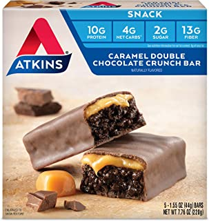 Atkins Snack Bar, Caramel Double Chocolate Crunch, Keto Friendly, 7.76 Ounce (Pack of 1)