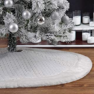 Christmas Tree Skirt - 48 inch Large Christmas Stockings with Shiny White and Faux Fur Cuff for Family Home Holiday Christmas Party Decorations