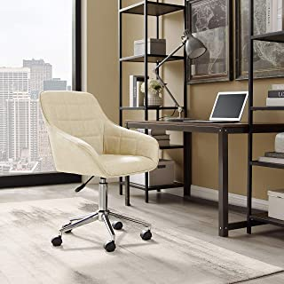 Volans Cute Desk Chair, Modern Simple Mid-Back Leather Swivel Home Office Task Chair with Arms and Adjustable Height for S...